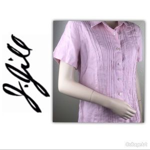 J. Jill Pink Button Up Short Sleeve  Sz XS